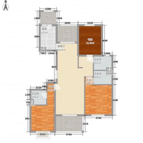 旭辉十九城邦3室1厅3卫1厨158.00㎡户型图