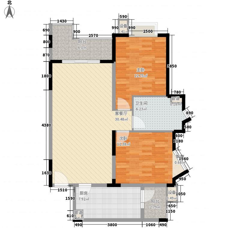 富景海派公馆14.60㎡一期F户型2室2厅1卫1厨