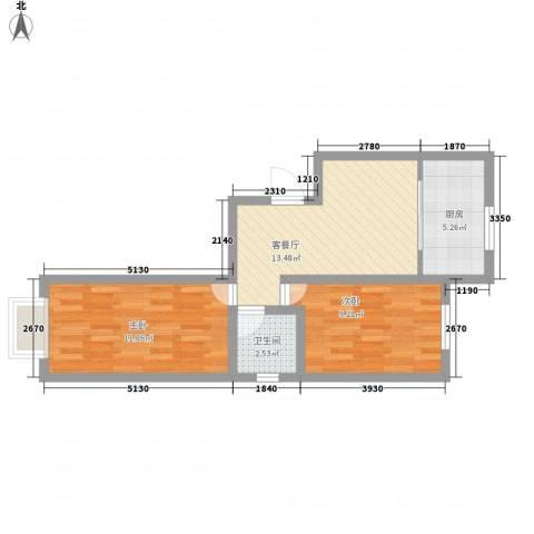 长影商务景都2室1厅1卫1厨62.00㎡户型图