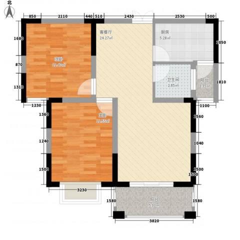 奥克斯博客城2室1厅1卫1厨90.00㎡户型图