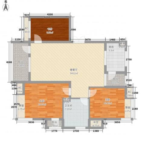 城西小区3室1厅1卫1厨112.77㎡户型图