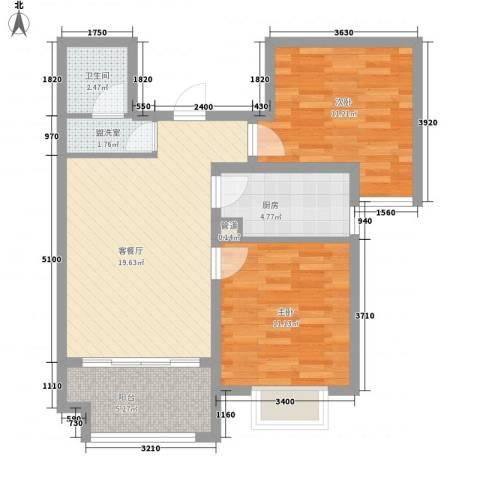 香格里拉2室1厅1卫1厨82.00㎡户型图