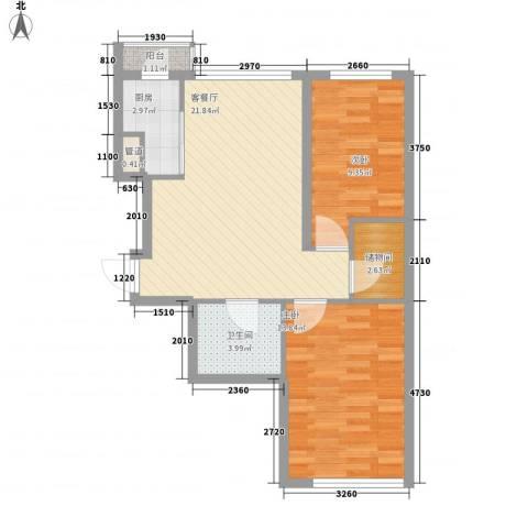 新华壹品2室1厅1卫1厨83.00㎡户型图