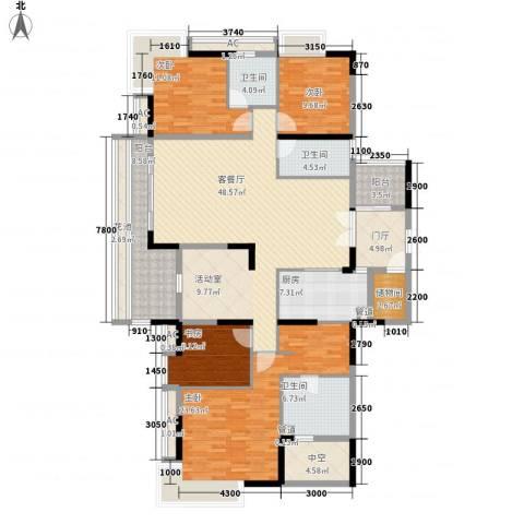 保利花园4室1厅3卫1厨187.00㎡户型图