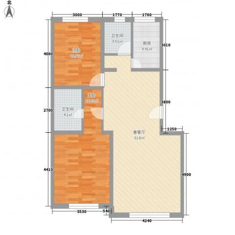 世纪新居2室1厅2卫1厨101.00㎡户型图