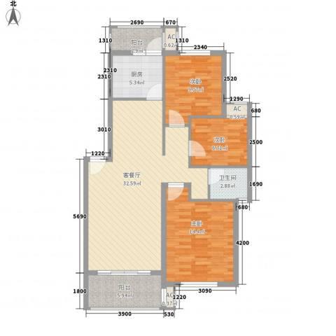 长坡社区3室1厅1卫1厨90.00㎡户型图
