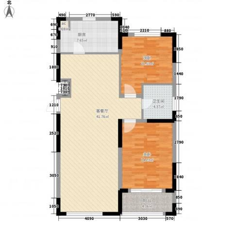 亚泰商住2室1厅1卫1厨119.00㎡户型图