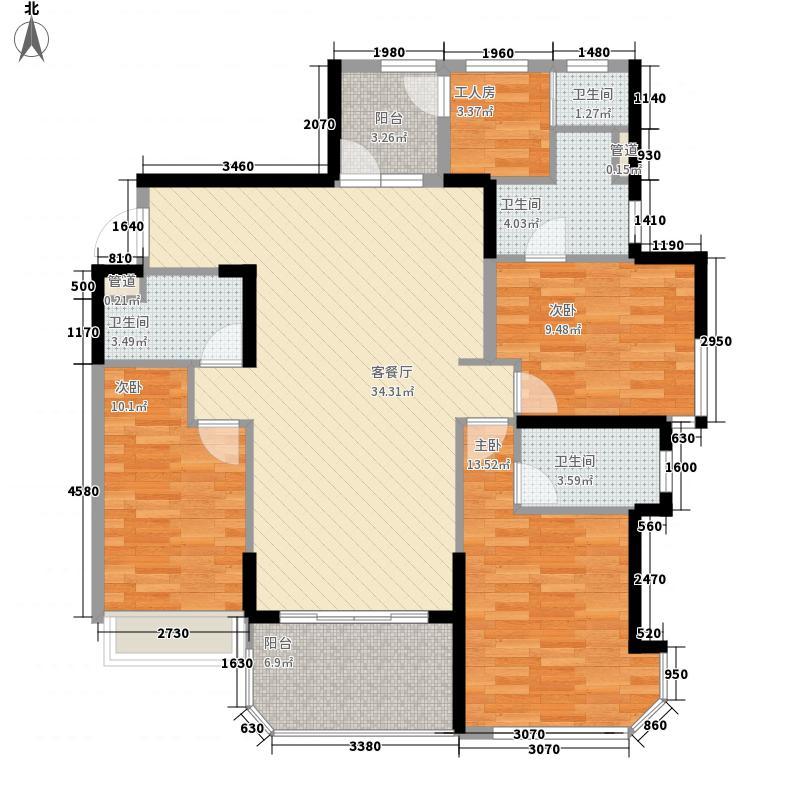 碧桂园・金海湾132.40㎡J533-G户型3室2厅2卫1厨