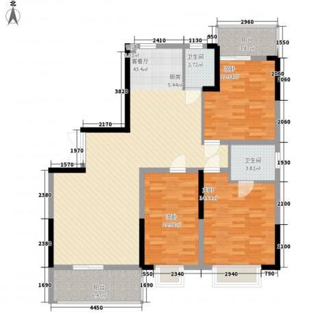 元一时代花园3室1厅2卫0厨123.00㎡户型图