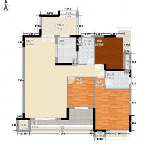 保利花园3室1厅2卫1厨120.00㎡户型图