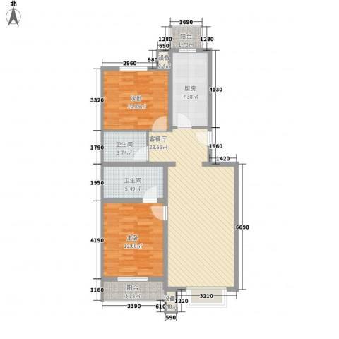 扫把塘社区2室1厅2卫1厨80.00㎡户型图