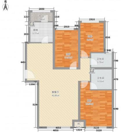 首尔甜城3室1厅2卫1厨138.00㎡户型图