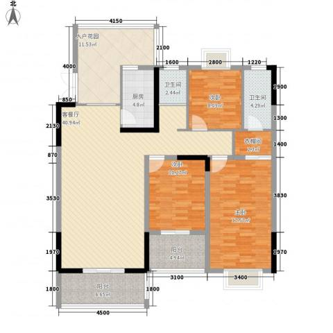 新城国际公馆3室1厅2卫1厨143.00㎡户型图