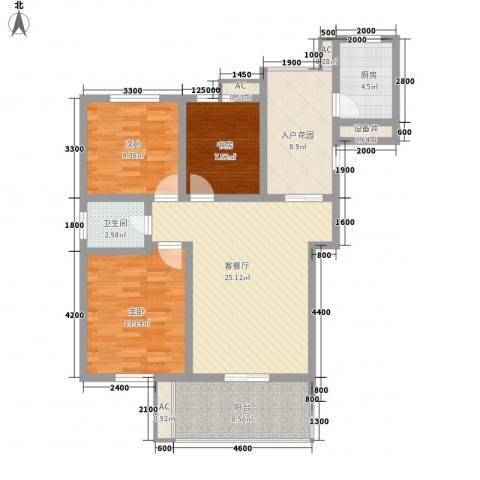 帝豪・星港湾3室1厅1卫1厨100.00㎡户型图