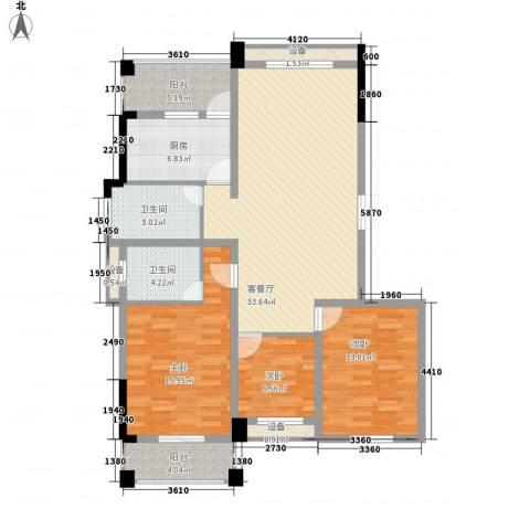 盛湘家园3室1厅2卫1厨112.34㎡户型图