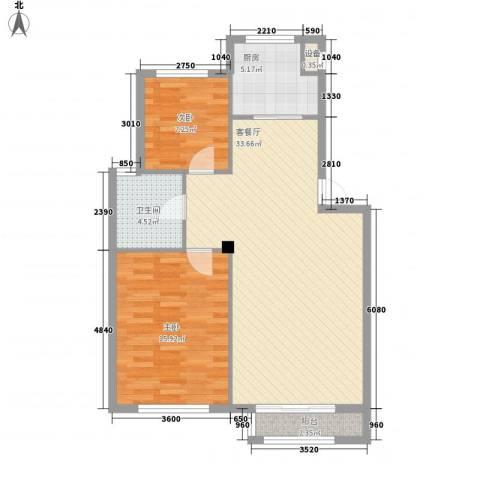 鼎新鼎润府2室1厅1卫1厨88.00㎡户型图