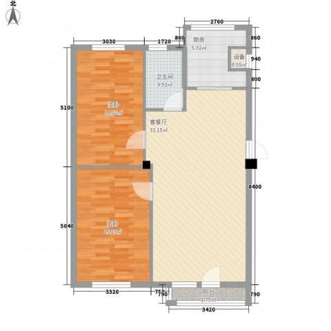 鼎新鼎润府2室1厅1卫1厨91.00㎡户型图