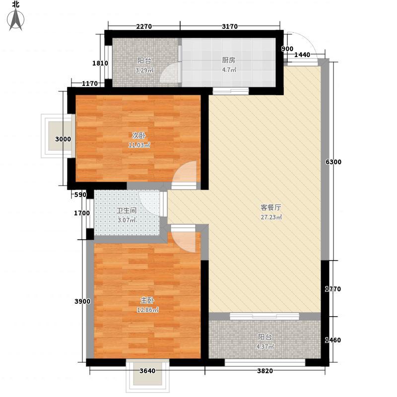 武都路贡元巷省公安厅家属院F户型:两房两厅一卫,98.73平米_调整大小户型2室2厅1卫1厨