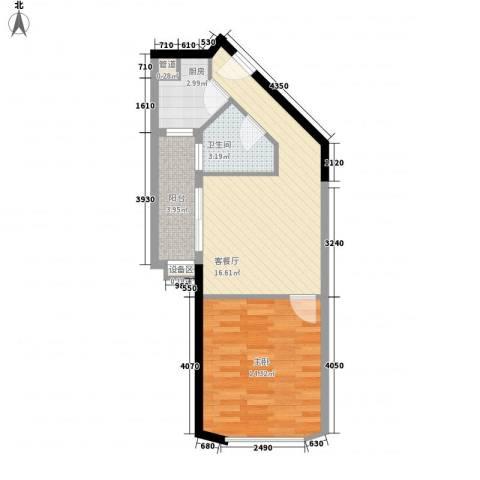 绿苑商城1室1厅1卫1厨58.00㎡户型图