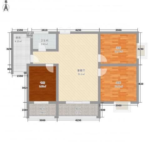 海�新天3室1厅1卫1厨113.00㎡户型图