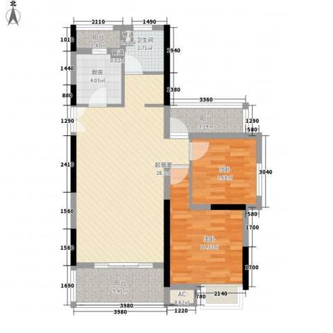 东渡青筑2室0厅1卫1厨94.00㎡户型图