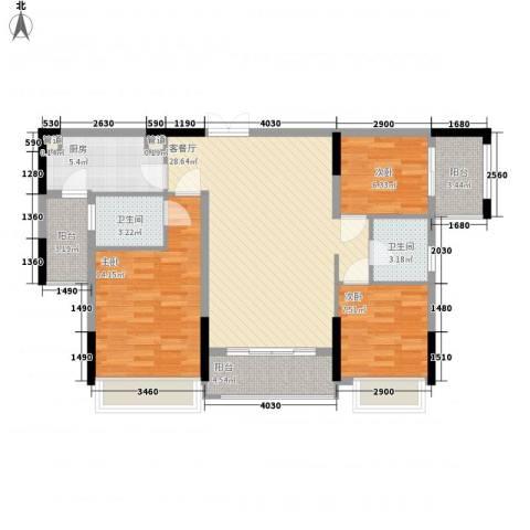 合正上东国际3室1厅2卫1厨113.00㎡户型图