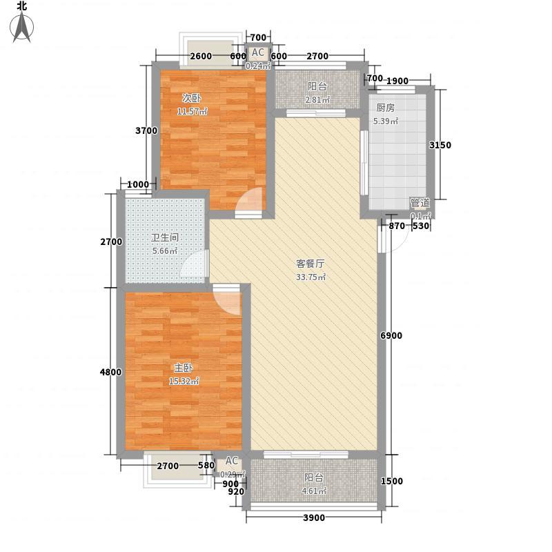 熔盛社区6#楼B1户型2室2厅1卫1厨