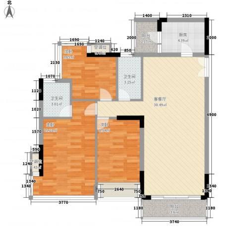 金地格林小城三期3室1厅2卫1厨114.00㎡户型图