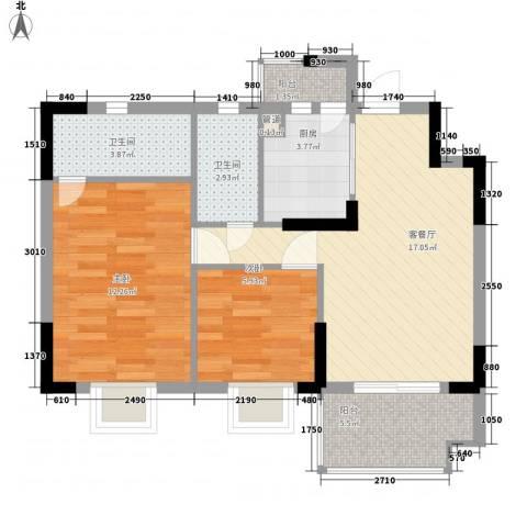 康格斯花园2室1厅2卫1厨76.00㎡户型图