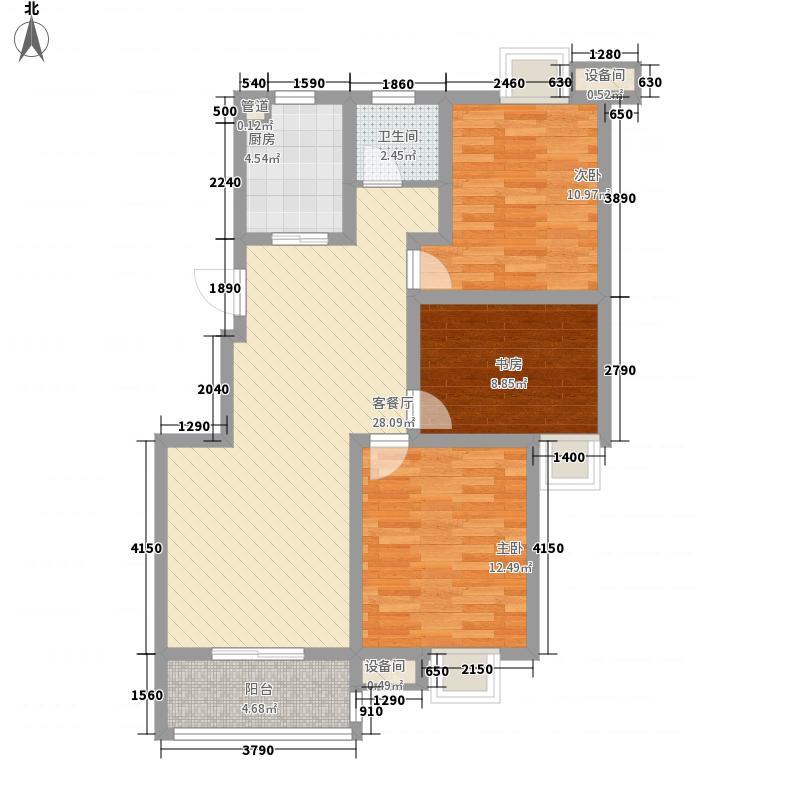 融创理想城市106.74㎡2期4号楼A2户型3室2厅1卫