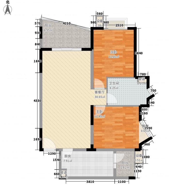 富景海派公馆14.42㎡一期B户型2室2厅1卫1厨