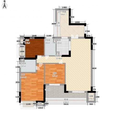 保利花园3室1厅2卫1厨110.00㎡户型图