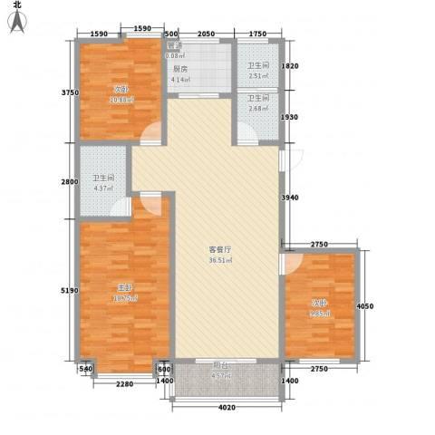 贵和花园3室1厅3卫1厨133.00㎡户型图