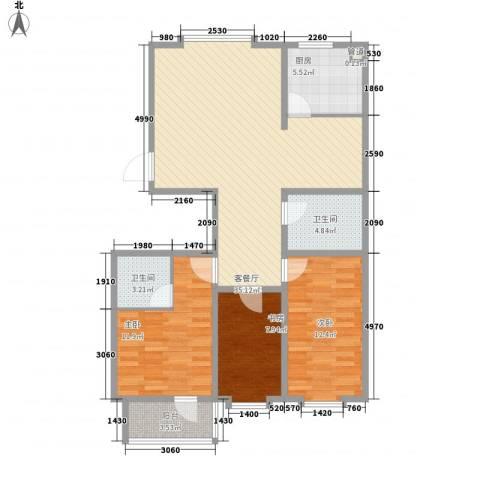 贵和花园3室1厅2卫1厨117.00㎡户型图