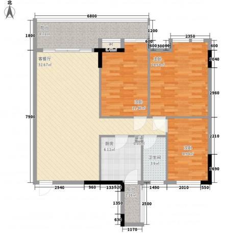 百合雅居3室1厅1卫1厨103.00㎡户型图