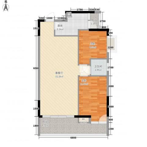 百合雅居2室1厅1卫1厨90.00㎡户型图