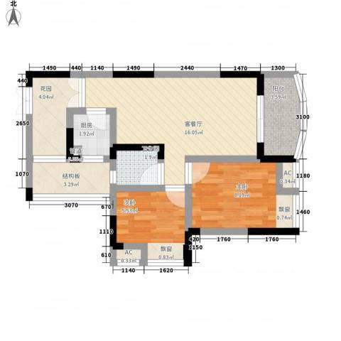 东福宏洲2室1厅1卫1厨70.00㎡户型图