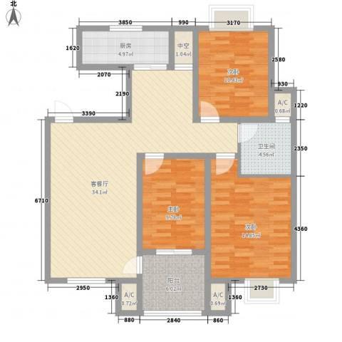 天泰茗仕豪庭3室1厅1卫1厨113.00㎡户型图