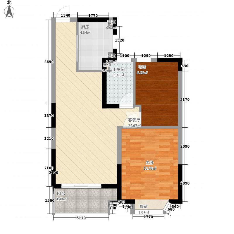 恒大帝景83.00㎡B户型2室1厅1卫1厨