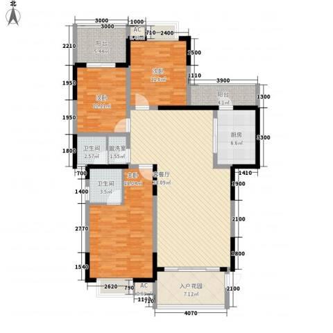 东方丽都3室1厅2卫1厨125.00㎡户型图