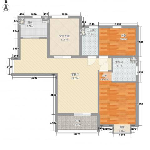 中环城紫荆公馆2室1厅2卫1厨105.00㎡户型图