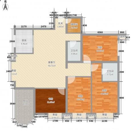 新街坊佳兴园4室1厅2卫1厨165.00㎡户型图