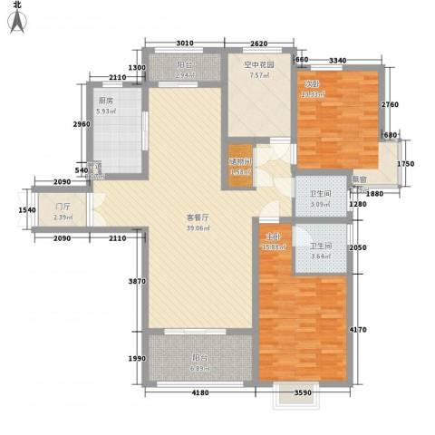 中环城紫荆公馆2室1厅2卫1厨125.00㎡户型图