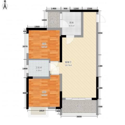 风华里2室1厅1卫1厨56.39㎡户型图