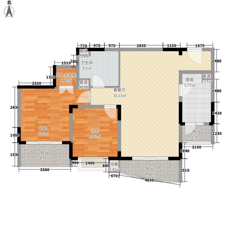 富景海派公馆13.60㎡二期海派擎城D型户型2室2厅1卫1厨
