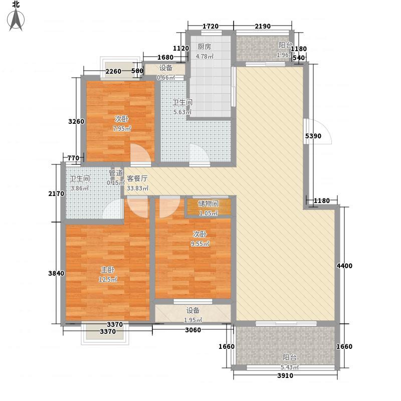 南山华庭128.00㎡户型3室2厅2卫1厨