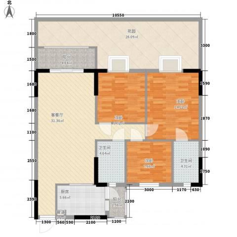 康格斯花园3室1厅2卫1厨110.54㎡户型图