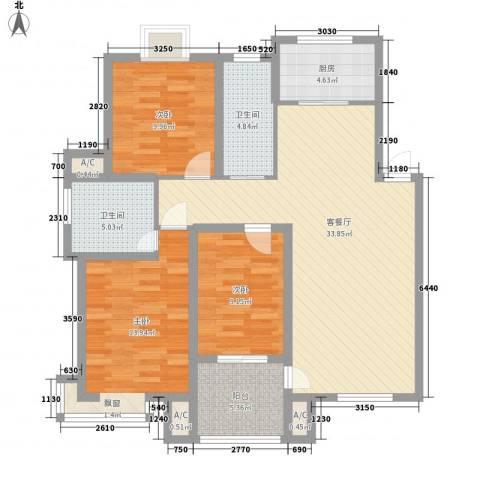 天泰茗仕豪庭3室1厅2卫1厨128.00㎡户型图