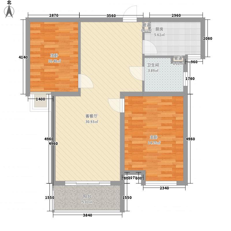 三花现代城三期金�苑100.00㎡户型2室2厅1卫