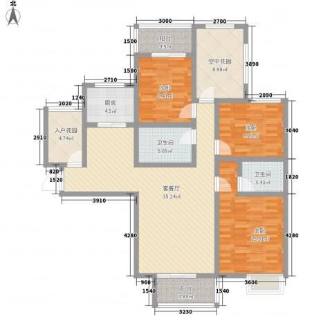 华府御城3室1厅2卫1厨143.00㎡户型图